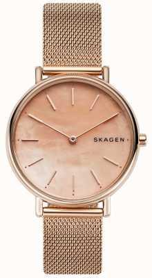 Skagen Señoras firman oro rosa pulsera de acero inoxidable esfera rosa SKW2732