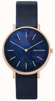 Skagen Correa de cuero azul de señoras Signatur madre perla SKW2731
