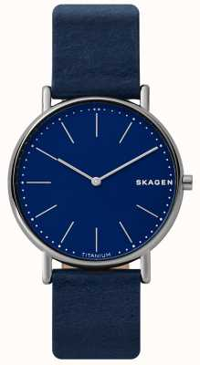 Skagen Mens signatur correa de cuero azul caja de titanio cara azul SKW6481