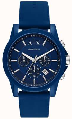 Armani Exchange Reloj deportivo para hombre set de regalo | correa de silicona azul | AX7107