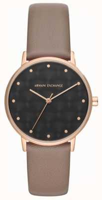 Armani Exchange Armani exchange ladies vestido reloj correa de cuero marrón AX5553