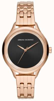 Armani Exchange Vestido de damas reloj oro rosa AX5606