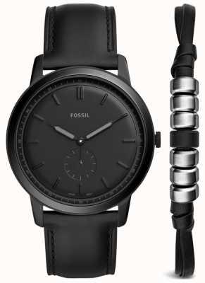 Fossil Reloj minimalista para hombre con correa de cuero negro FS5500SET