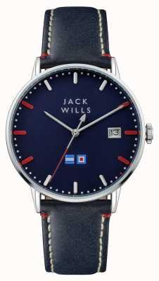 Jack Wills Correa de cuero para hombre azul batson esfera azul JW002BLSS