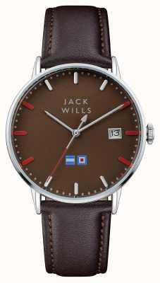Jack Wills Correa de cuero marrón para hombre con esfera marrón batson JW002BRBR