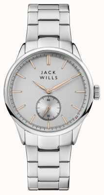 Jack Wills Pulsera de acero inoxidable para hombre con esfera de plata. JW004SLSL