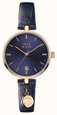 Jack Wills Correa de cuero azul con esfera azul para mujer bennett JW005BLRG