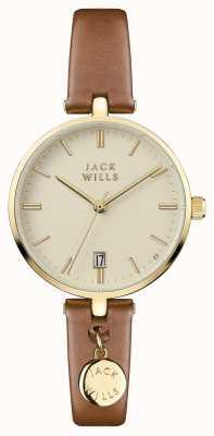 Jack Wills Correa de cuero marrón para mujer color crema bennett JW005CMGD