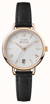 Jack Wills Womens onslow esfera blanca correa de cuero negro JW006BKRS