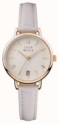 Jack Wills Correa de piel rosa para mujer con esfera baja y rosa. JW006PKRS