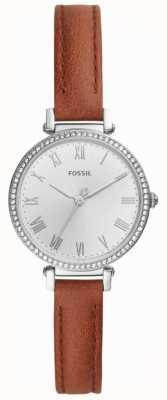 Fossil Esfera de acero inoxidable para mujer en cuero marrón blanco. ES4446
