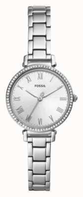 Fossil Correa de acero inoxidable para mujer Kinsey esfera blanca. ES4448