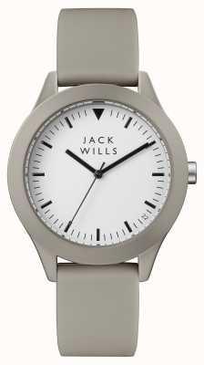 Jack Wills Correa de silicona gris con esfera blanca para hombre. JW009WHGY