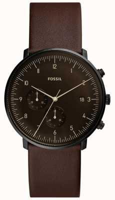 Fossil Correa de cuero marrón para hombre caja de acero inoxidable esfera marrón FS5485