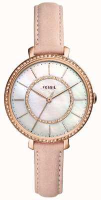 Fossil Correa de piel beige para mujer acero inoxidable nácar ES4455