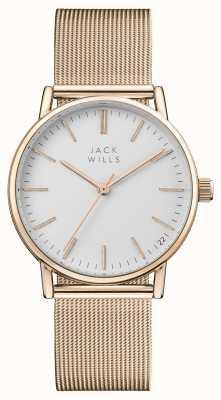Jack Wills Berry para mujer esfera blanca pulsera de malla pvd oro rosa JW013RSRS