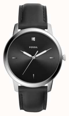 Fossil Correa de cuero negro para hombre caja de acero inoxidable esfera negra FS5497