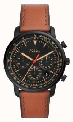 Fossil Cronógrafo para hombre cuero marrón acero inoxidable esfera negra FS5501