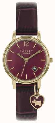Radley Reloj para mujer caja de oro rosa correa de color púrpura RY2718
