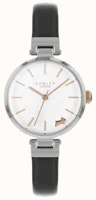 Radley Reloj de señora con correa de piel negra y caja de plata RY2715
