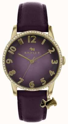 Radley Reloj de señora morado con caja de oro. RY2726
