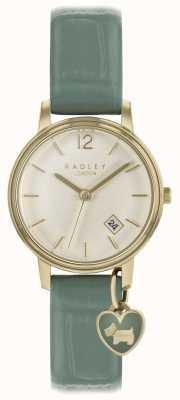 Radley Reloj de señora con correa de clavo y estuche dorado. RY2722