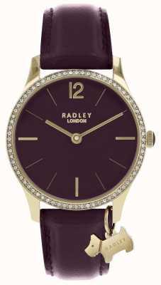 Radley Las señoras miran correa de cuero púrpura caja de oro RY2708