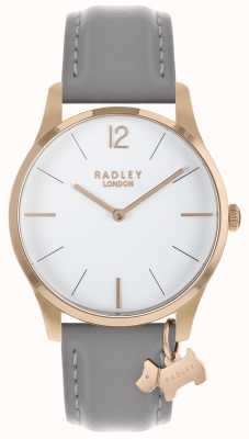 Radley Reloj de señora con caja de oro rosa y correa de ceniza. RY2712