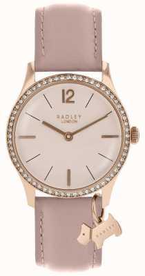 Radley Reloj de señora con correa de piel de telaraña dorada rosa. RY2700