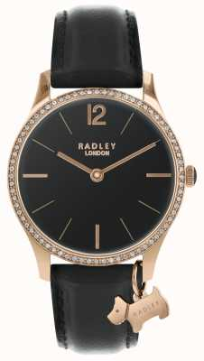 Radley Reloj de raso negro para mujer. RY2704