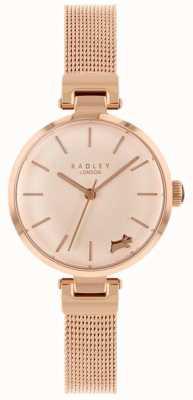 Radley Reloj de pulsera de malla dorada rosa para mujer. RY4360