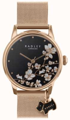 Radley Reloj de mujer correa de malla flor de cola negro esfera RY4346