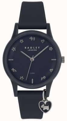 Radley Reloj de señora con correa de silicona con marcadores plateados. RY2691