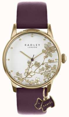 Radley Las señoras miran la correa de cuero floral púrpura RY2688
