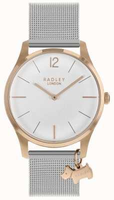 Radley Las señoras ven la correa de malla de plata de la caja de oro rosa RY4355