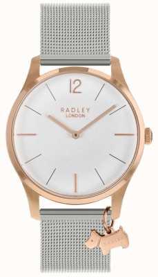 Radley Reloj de señoras   caja de oro rosa   correa de malla de acero inoxidable   RY4355