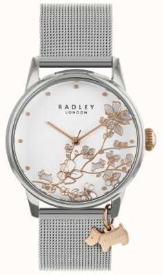 Radley Señoras reloj pulsera de malla de plata esfera blanca RY4347