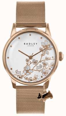 Radley Reloj de pulsera de malla de acero inoxidable chapado en oro rosa para mujer. RY4348