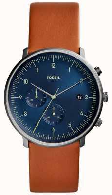 Fossil Reloj de chase para hombre correa de cuero marrón esfera azul FS5486