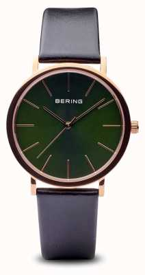 Bering Clásico | correa de oro rosa negro pulido 13436-469