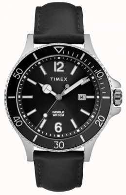 Timex El | hombres | indiglo harborside | esfera negra | cuero negro | TW2R64400D7PF