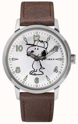 Timex Snoopy welton esfera plateada correa de cuero marrón TW2R94900