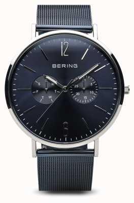 Bering Clásico | plata pulida | día fecha azul 14240-303