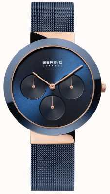 Bering Cerámica | caja de oro rosa pulido | esfera azul 35036-367