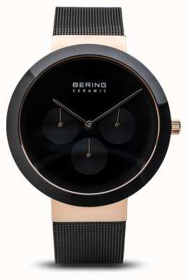 Bering Cerámica | caja de oro rosa pulido | esfera negra 35040-166