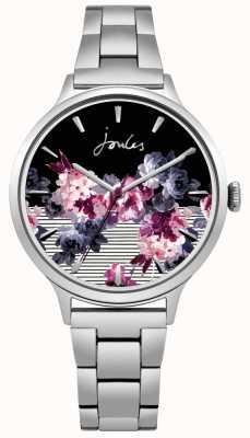 Joules Pulsera floral de acero inoxidable para mujer. JSL002SM