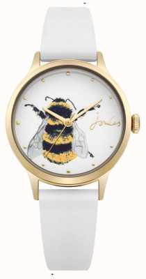 Joules Correa de silicona blanca para mujer con esfera blanca y abeja. JSL010WRG