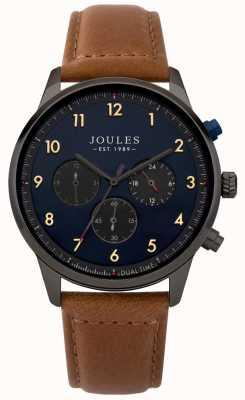 Joules Correa de cuero marrón para hombre esfera azul cronógrafo JSG007TB