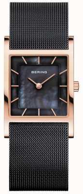 Bering Pulsera de malla negra para mujer dial negro nacarado 10426-166-S
