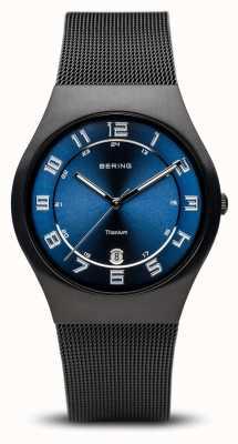Bering Titanio | esfera azul negra cepillada 11937-227